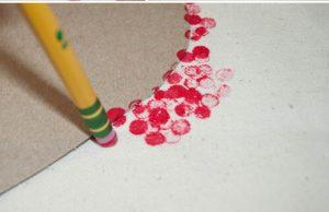 Dip dots with an eraser