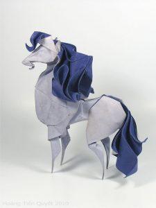 Wet folding origami horse