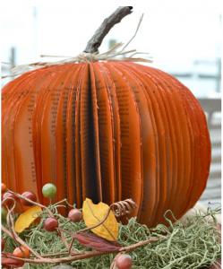 re-purposed book pumpkin