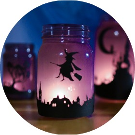 halloween-mason-jars-lanterns-with-silhouettes-featured